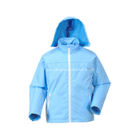 190T Nylon With PU Coating Blue Windbreaker Jacket