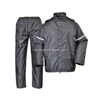 170T Polyester with PVC Coating Waterproof Black Motorcycle Rain Suit