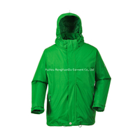 190T Nylon With PU Coating Green Windbreaker Jacket