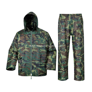 Polyester with PVC Coating Waterproof Camouflage Rain Suit